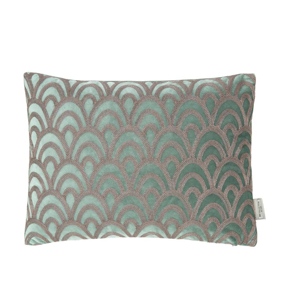 Samt-Kissen Trole mit glänzender Stickerei, mit Inlett, 100% Samt (Polyester), Grün, Silberfarben, 40 x 60 cm