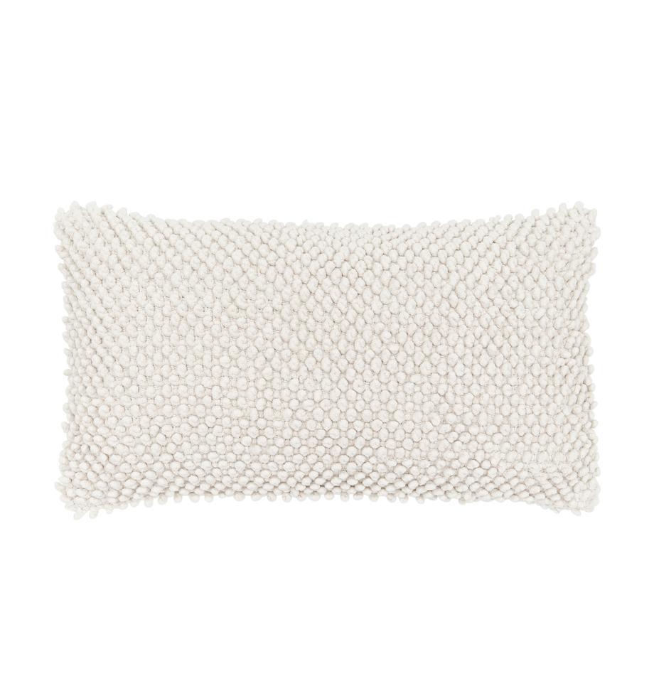 Kissenhülle Indi mit strukturierter Oberfläche in Cremeweiss, 100% Baumwolle, Gebrochenes Weiss, 30 x 50 cm