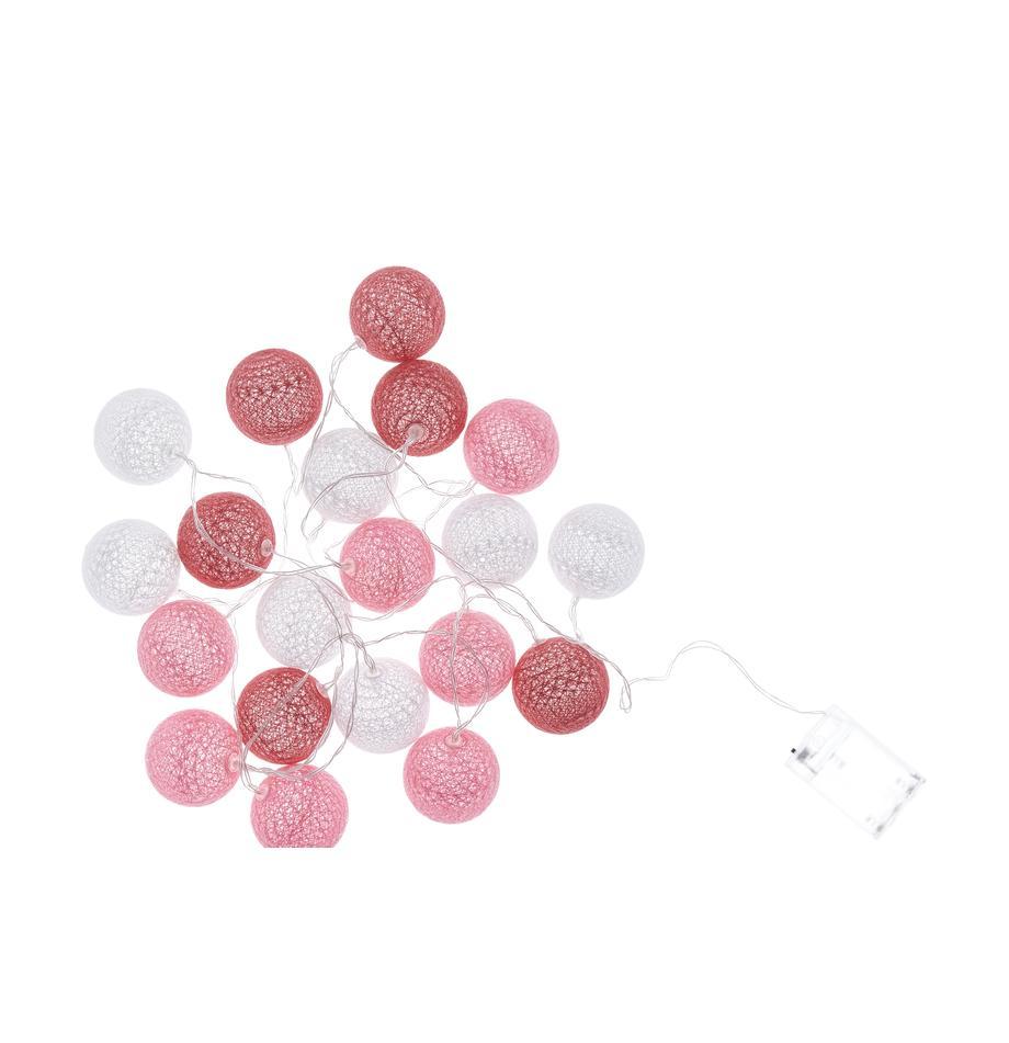 LED-Lichterkette Bellin, 320 cm, Lampions: Baumwolle, Pink, Dunkelrot, Weiss, L 320 cm