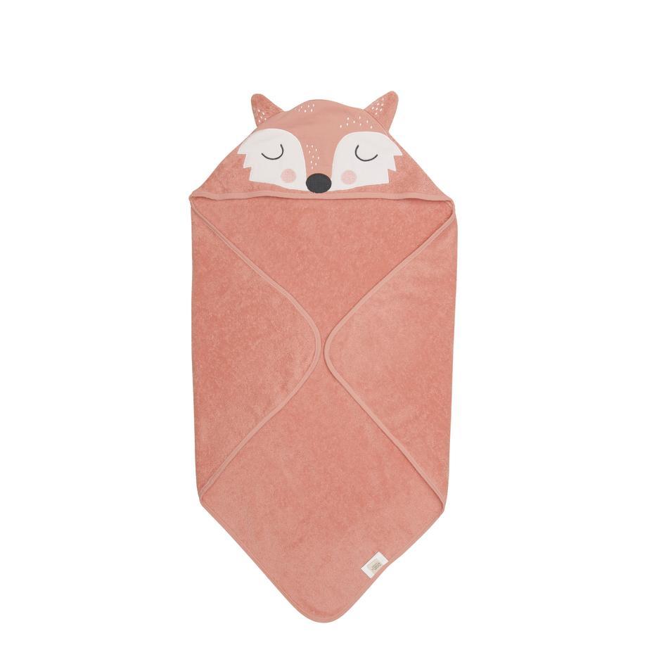 Babyhandtuch Fox Frida aus Bio-Baumwolle, 100% Biobaumwolle, GOTS-zertifiziert, Rosa, Weiss, Schwarz, 80 x 80 cm