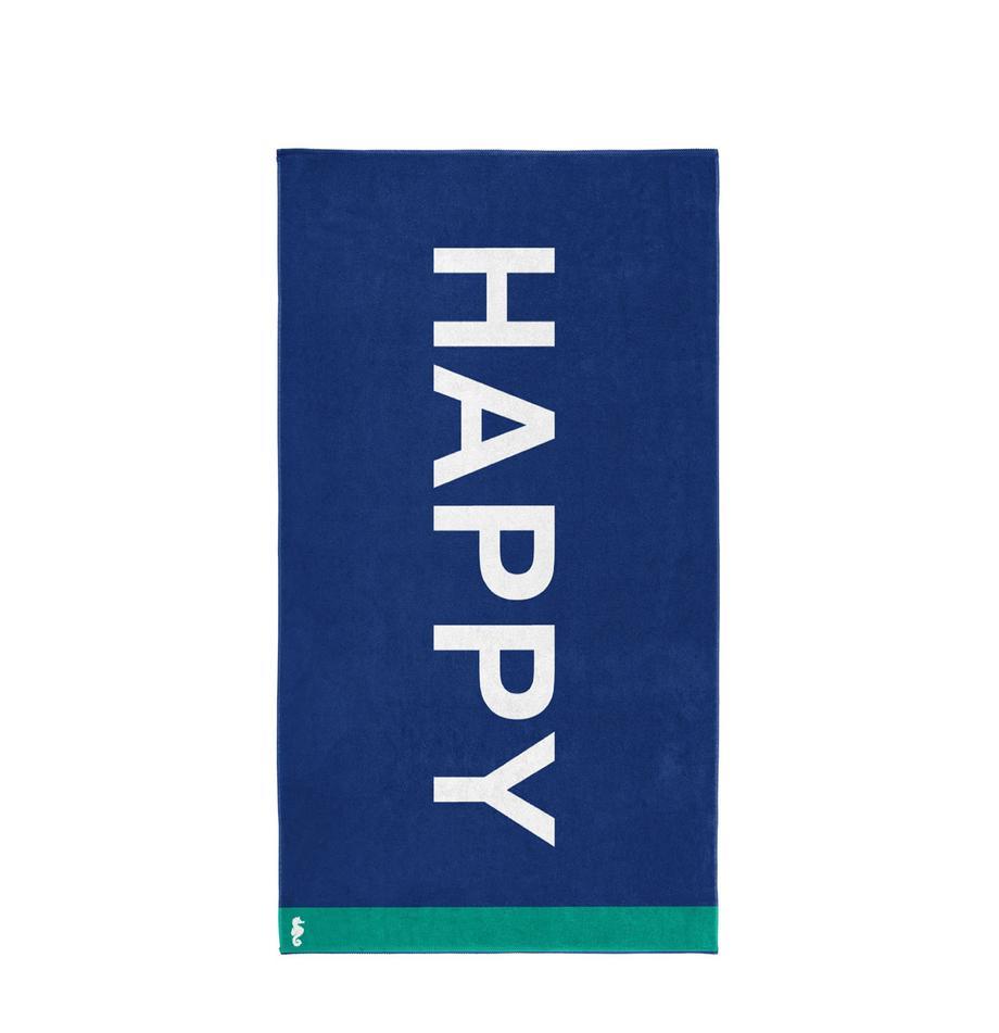 Telo mare Happy, Velour (cotone) Qualità del tessuto di peso medio, 420g/m², Blu, bianco, verde, P 100 x L 180 cm