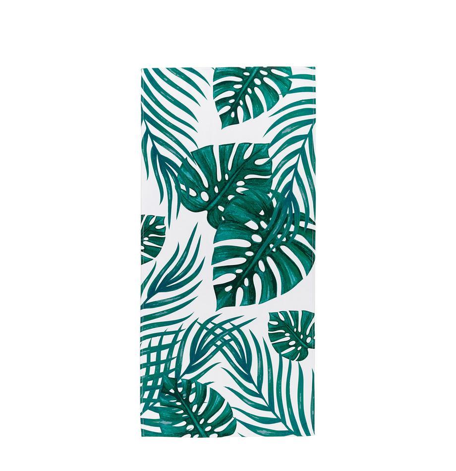 Telo mare leggero con motivo tropicale Jungle, 55% poliestere, 45% cotone Qualità molto leggera 340 g/m², Bianco, verde, Larg. 70 x Lung. 150 cm