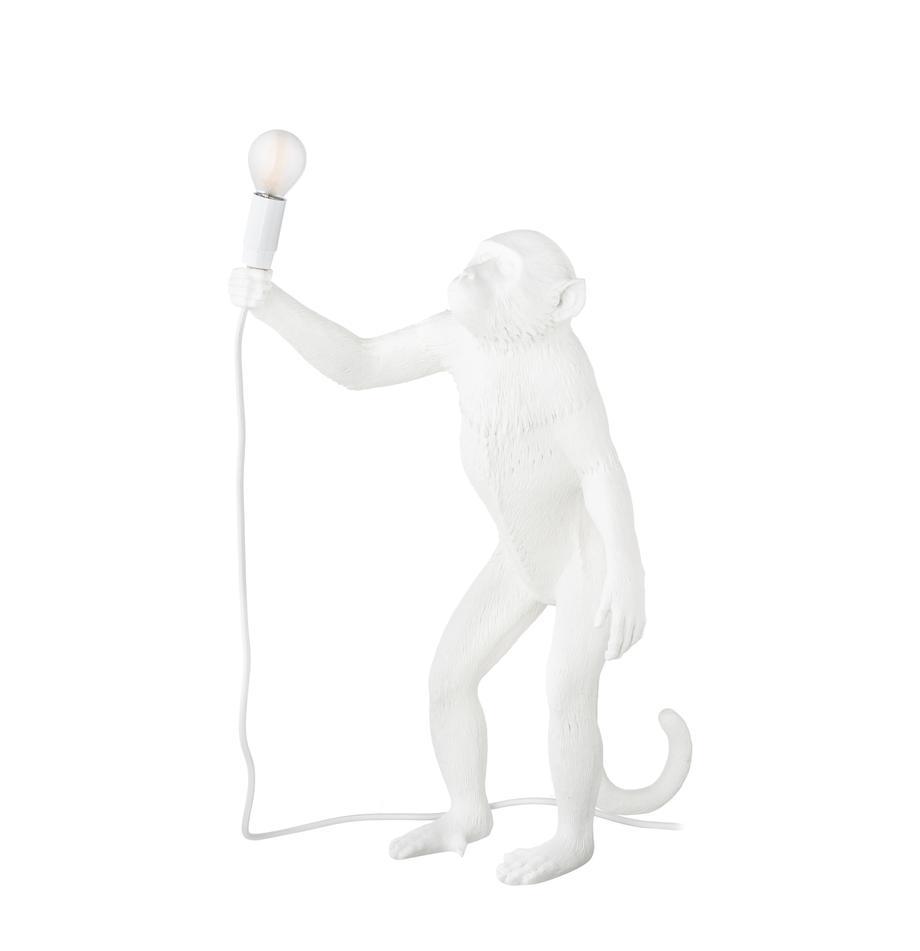 Lámpara de mesa de diseño Monkey, Lámpara: resina, Cable: plástico, Blanco, An 46 x Al 54