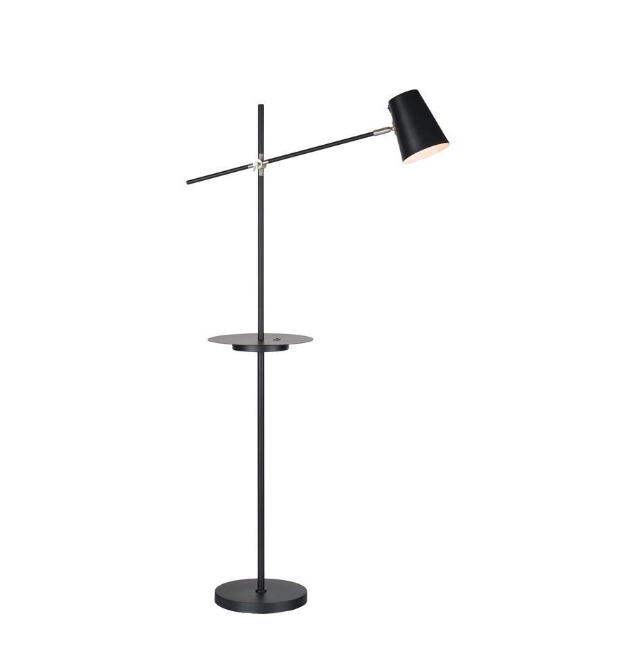 Leeslamp Linear met plank en oplader, Lampenkap: gecoat metaal, Lampvoet: gecoat metaal, Decoratie: geborsteld staal, Zwart, 28 x 144 cm