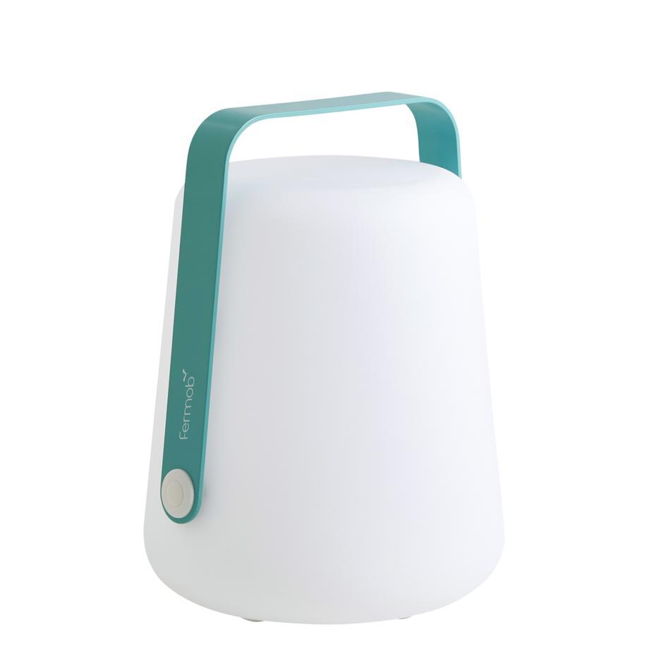 Mobile Dimmbare Aussentischlampe Balad, Lampenschirm: Polyethen, für den Aussen, Griff: Aluminium, lackiert, Lagunenblau, Ø 19 x H 25 cm
