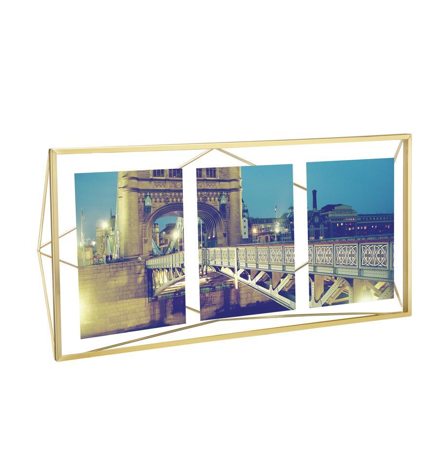 Bilderrahmen Prisma, Rahmen: Stahl, vermessingt, Front: Glas, Messing, 13 x 18 cm