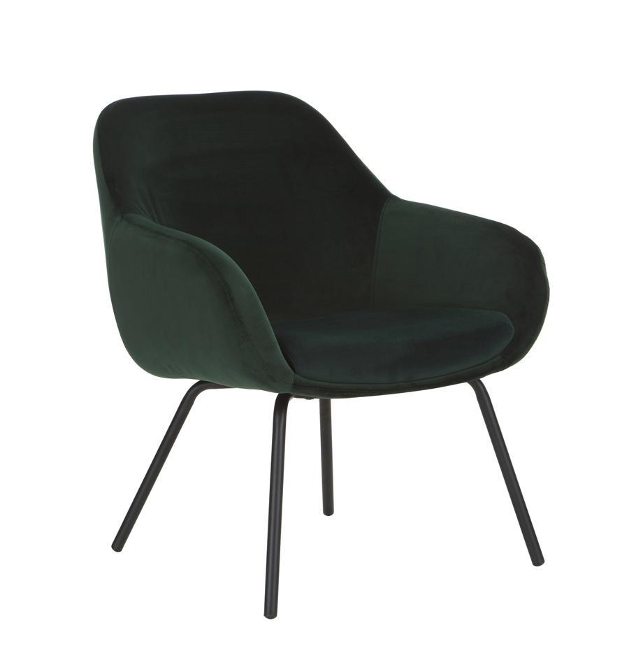 Sedia con braccioli in velluto Kassandra, Rivestimento: velluto (poliestere) 25.0, Gambe: metallo verniciato, Velluto verde scuro, Larg. 72 x Prof. 68 cm