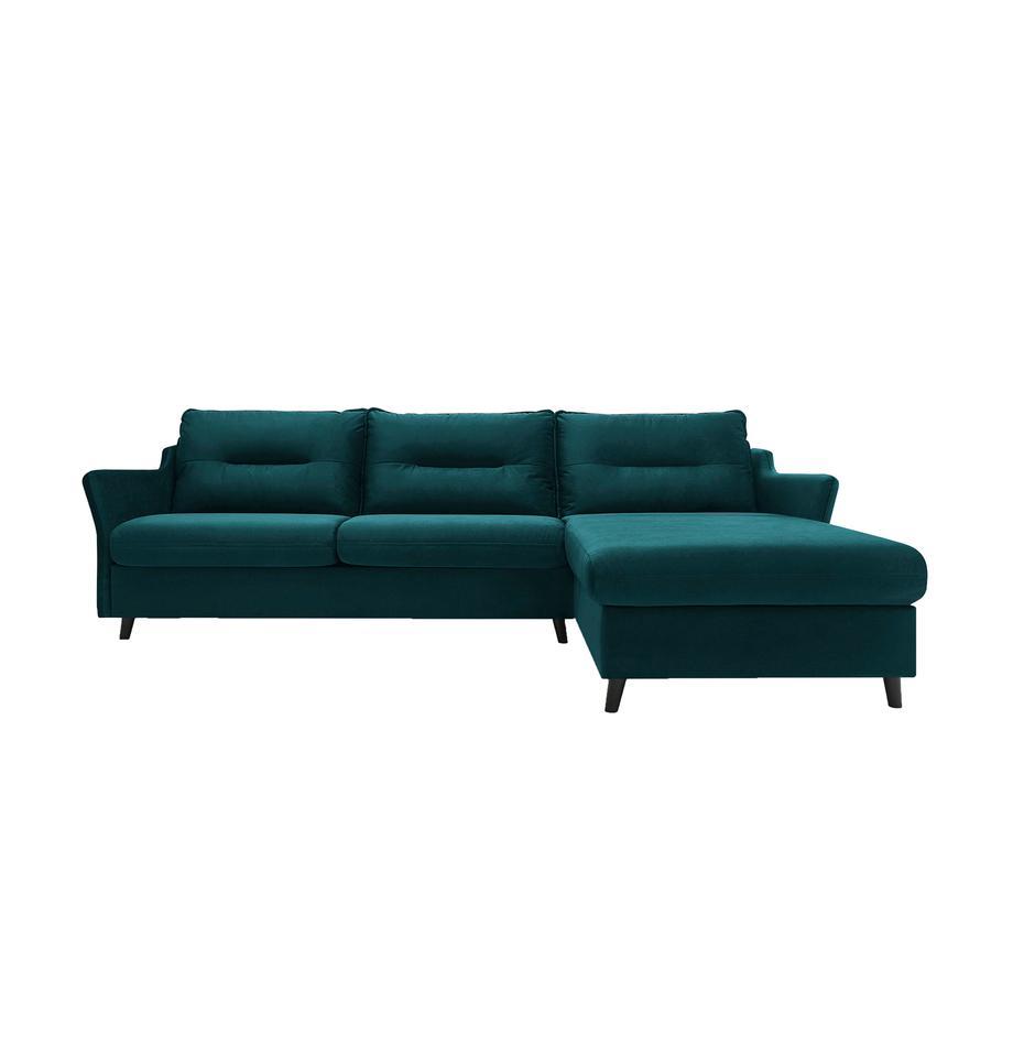 Sofa narożna z funkcją spania z aksamitu Loft, Tapicerka: 100% aksamit poliestrowy, Nogi: metal lakierowany, Szmaragdowy, S 275 x G 181 cm