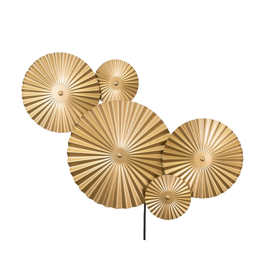 Design LED-wandlamp Omega met stekker, Lampenkap: vermessingd metaal, Messingkleurig, 70 x 55 cm