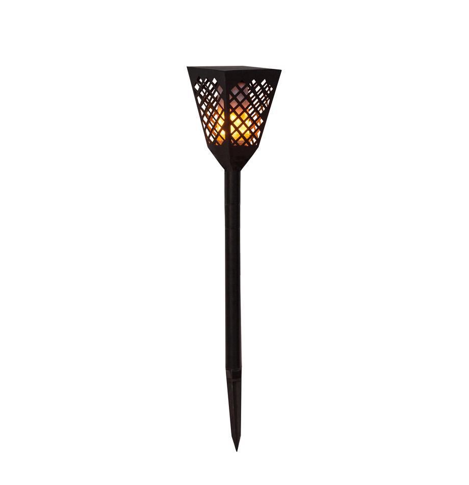Solar padverlichting Flame met vlammeneffect, Lampenkap: kunststof, Zwart, Ø 12 x H 79 cm