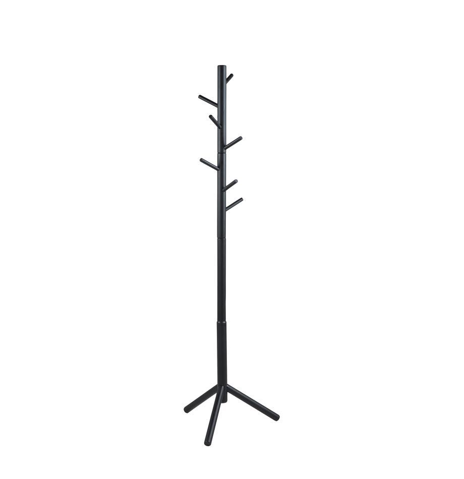 Kapstok Bremen van hout met 6 haken, Gelakt rubberhout, Zwart, 51 x 176 cm