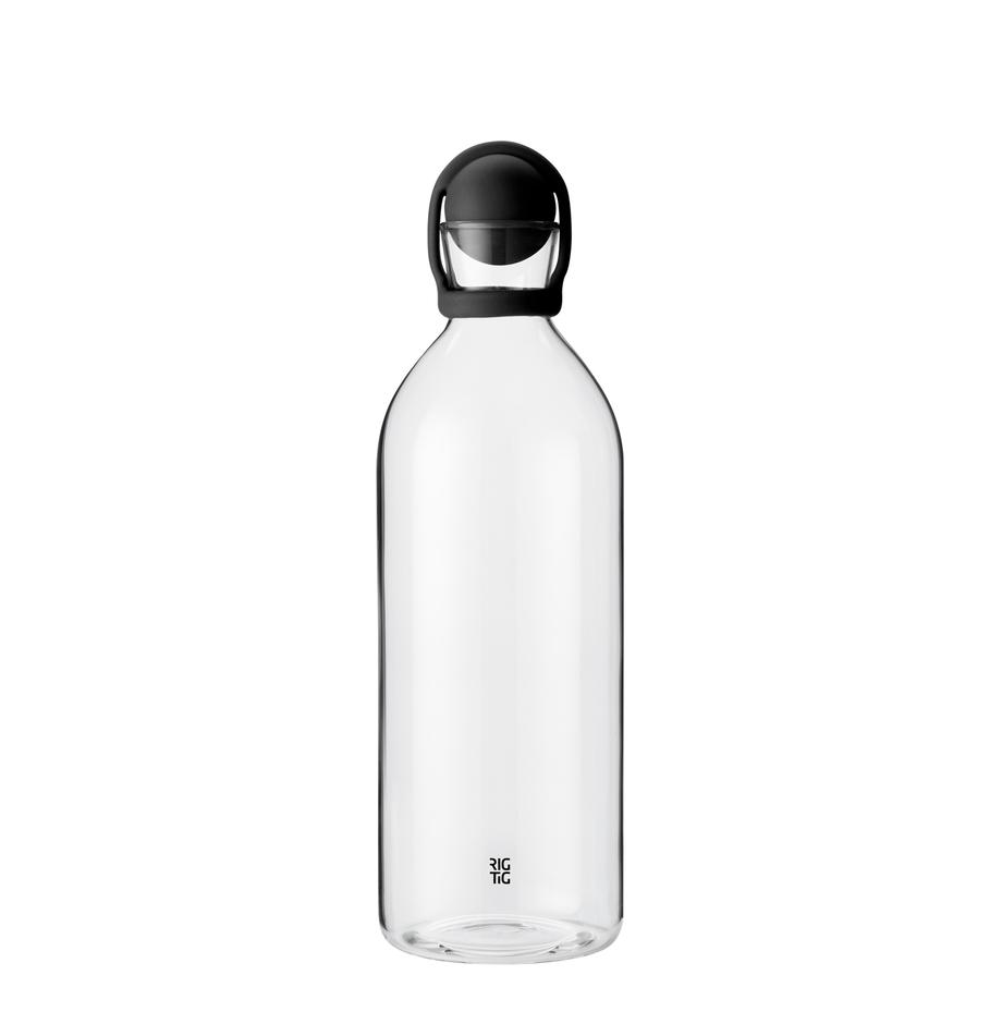 Botella para agua Cool-It, 1,5 L, Botella: vidrio, Negro, transparente, 1.5 L