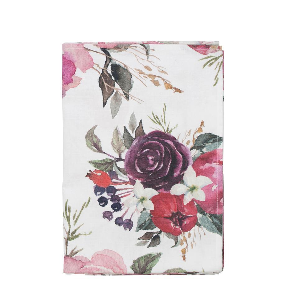 Tischdecke Florisia, Baumwolle, Rosa, Weiß, 160 x 160 cm