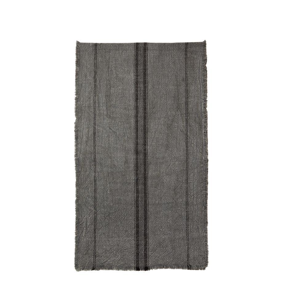 Baumwoll-Tischläufer Ripo in Dunkelgrau meliert, 100% Baumwolle, Dunkelgrau, meliert, Schwarz, 40 x 140 cm
