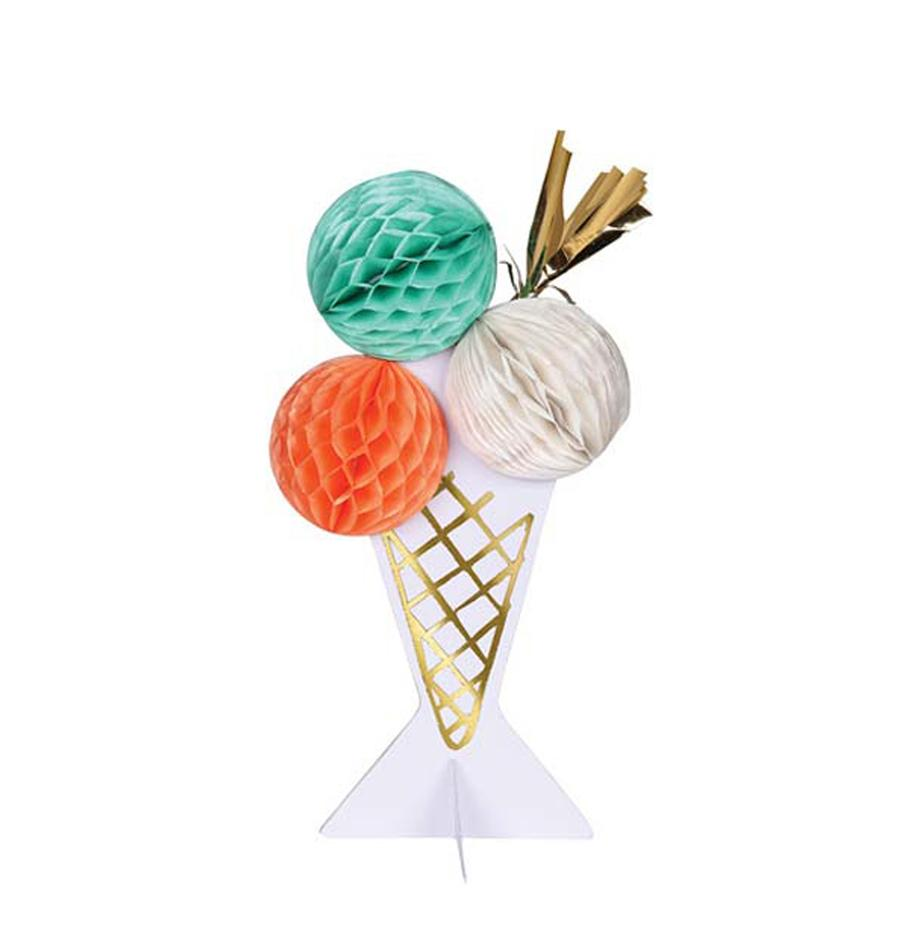 Geburtstagskarte Ice Cream, Papier, Rosa, Weiss, Mintgrün, Goldfarben, 19 x 13 cm