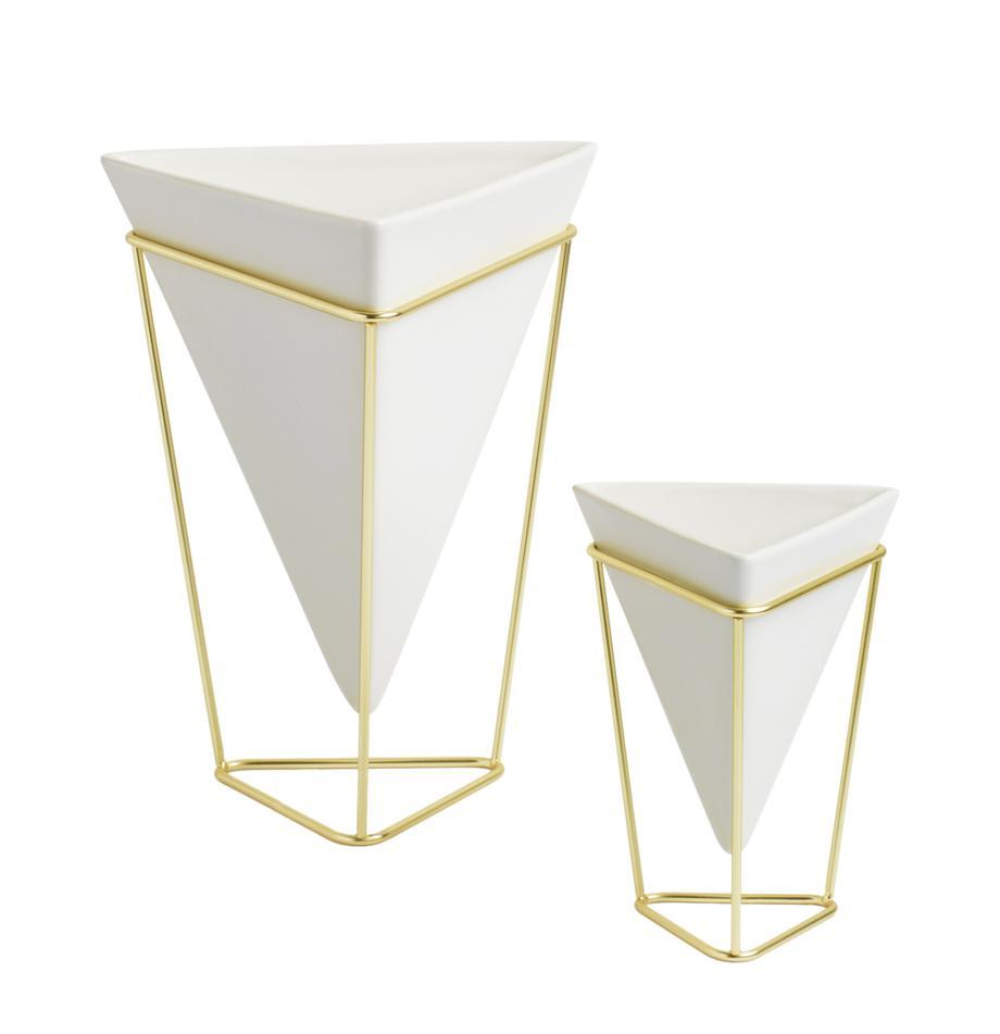 Komplet doniczek Trigg Desk, 2 elem., Wazon: biały Podstawa: mosiądz, Komplet z różnymi rozmiarami