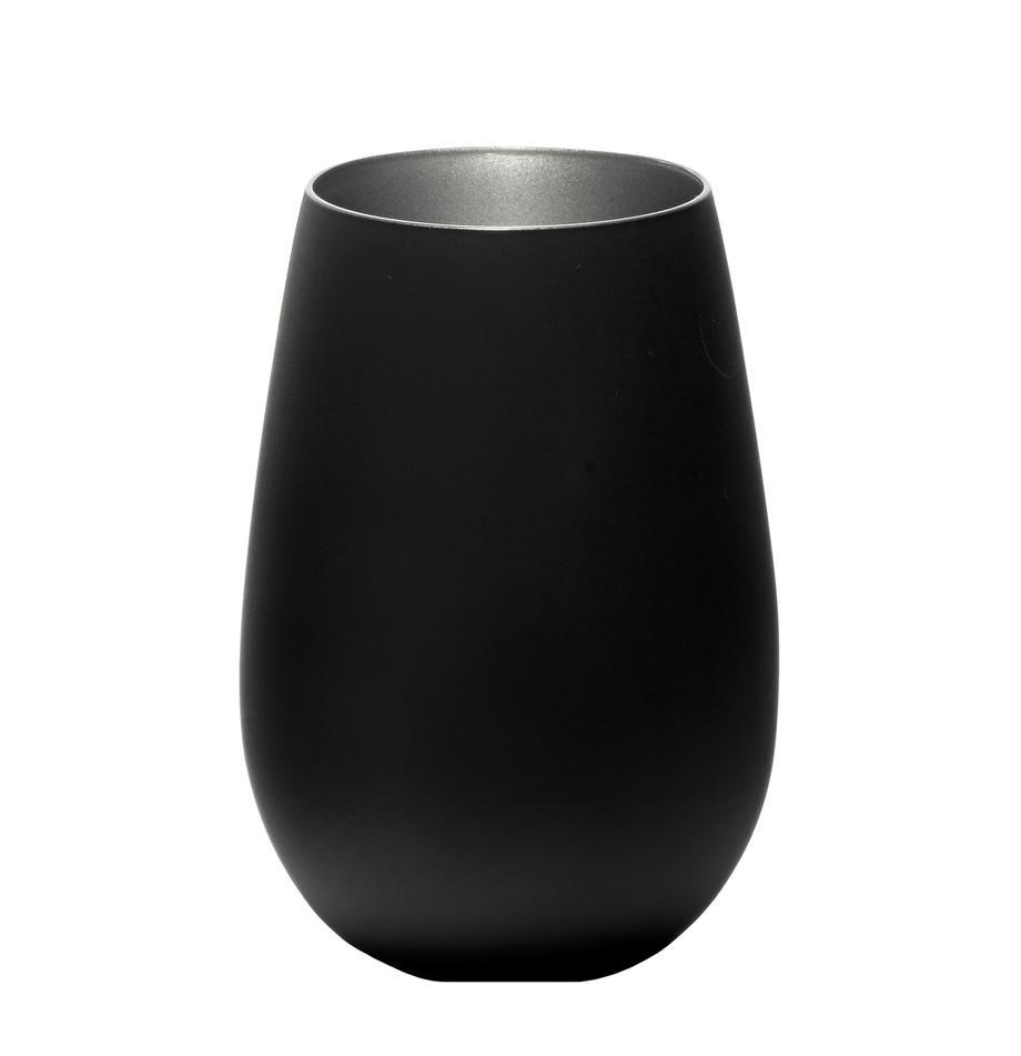 Kryształowa szklanka do koktajli Elements, 6 szt., Szkło kryształowe, powlekane, Czarny, odcienie srebrnego, Ø 9 x W 12 cm