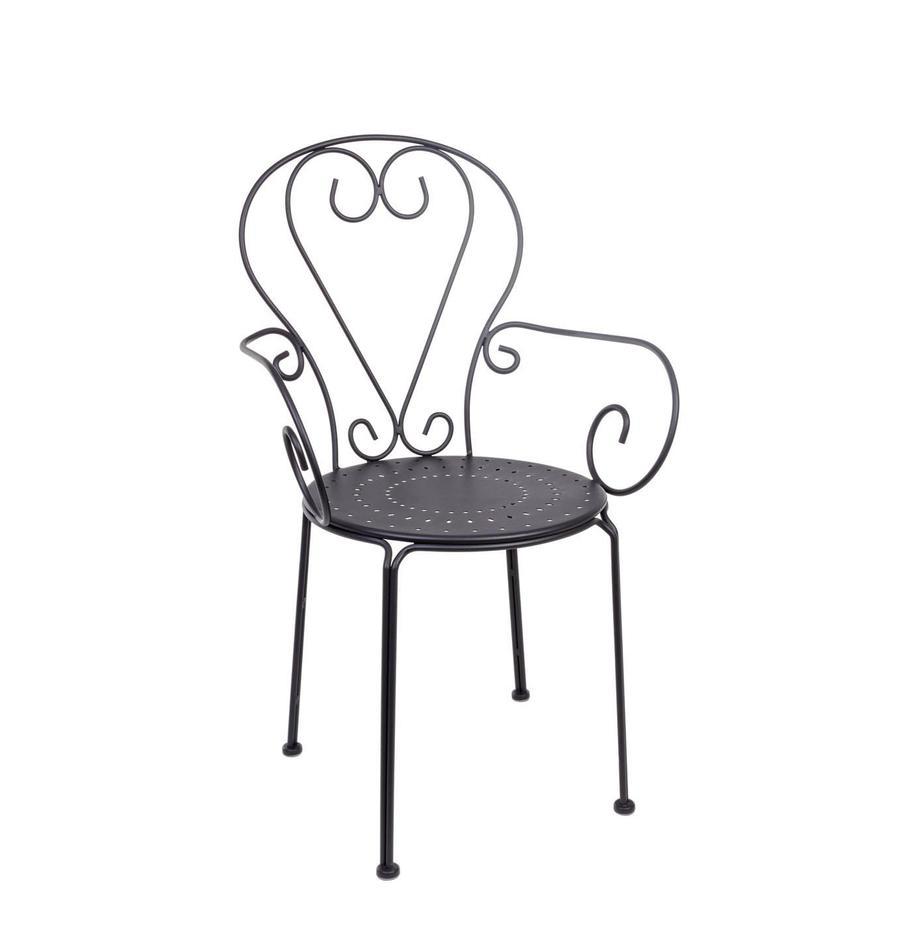 Krzesło z podłokietnikami ogrodowe Etienne, 2 szt., Ciemnyszary, S 49 x  W 89 cm