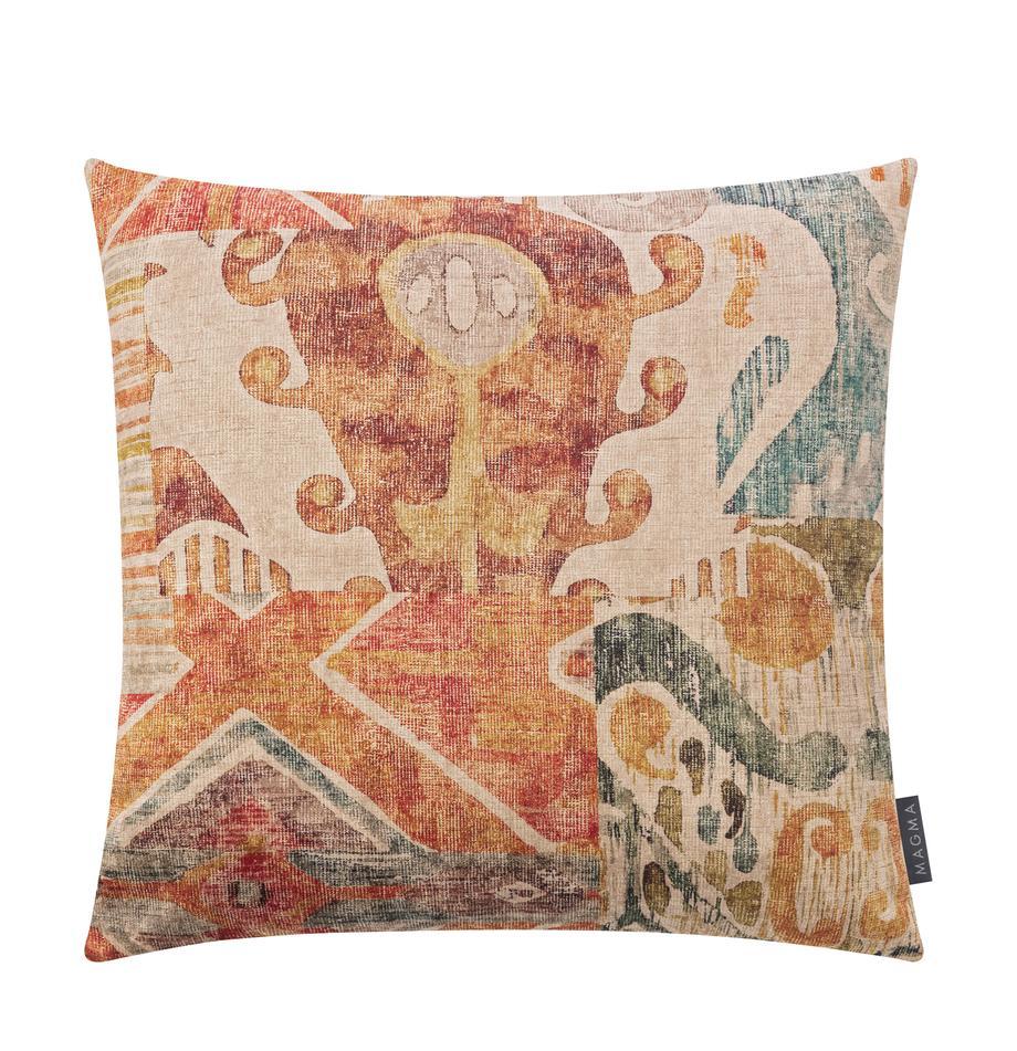 Samt-Kissenhülle Cosima mit buntem Ethno-Muster, 100% Polyestersamt, Orange, Mehrfarbig, 40 x 40 cm