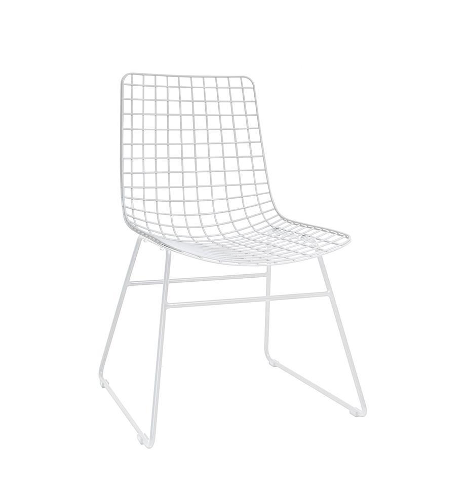 Metall-Stuhl Wire in Weiss, Metall, pulverbeschichtet, Weiss, B 47 x T 54 cm