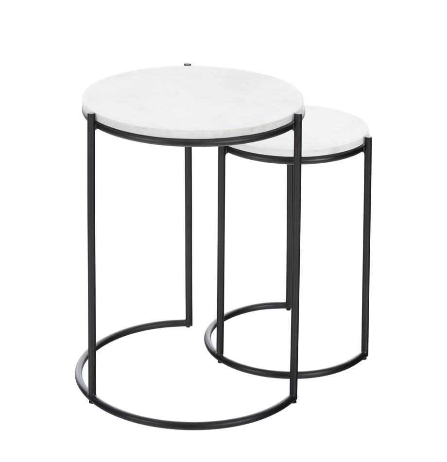 Set de mesas auxiliares de mármol Ella, Tablero: mármol, Estructura: metal con pintura en polv, Mármol blanco, negro, Set de diferentes tamaños