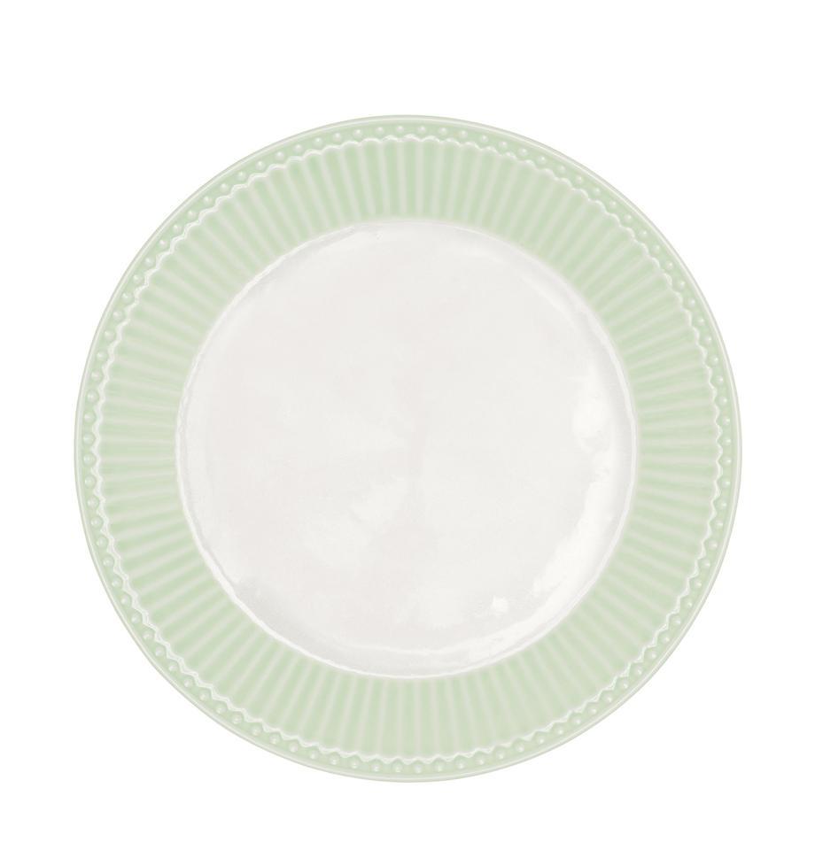Ontbijtbord Alice, 2 stuks, Porselein, Mintgroen, wit, Ø 23 cm