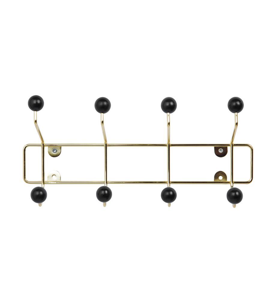 Metall-Garderobenhaken Saturnus, Gestell: Metall, lackiert, Haken: Kunststoff, Gestell: GoldfarbenHaken: Schwarz, 34 x 15 cm