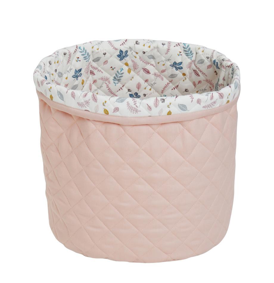 Opbergmand Pressed Leaves, Bekleding: organisch katoen, Buitenzijde: roze. Binnenzijde: crèmekleurig, roze, blauw, grijs, Ø 30 x H 33 cm
