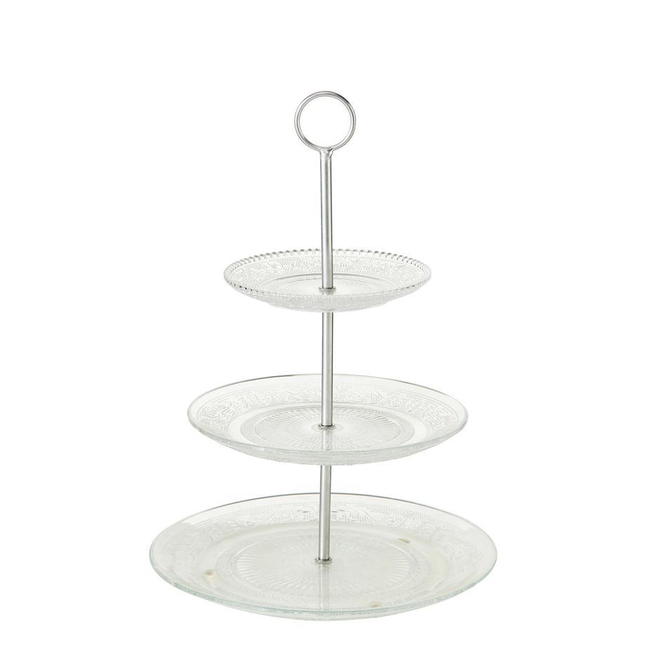 Fuente 3 pisos de vidrio Relief, Estante: vidrio, Transparente, Ø 25 x Al 35 cm