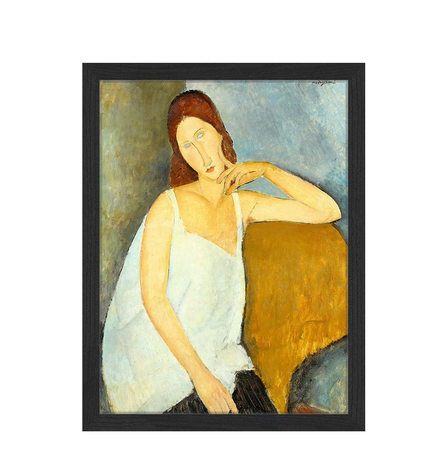 Gerahmter Digitaldruck Jeanne Hebuterne, By Amedeo Modigliani, Bild: Digitaldruck auf Papier, , Rahmen: Holz, lackiert, Front: Plexiglas, Mehrfarbig, 33 x 43 cm