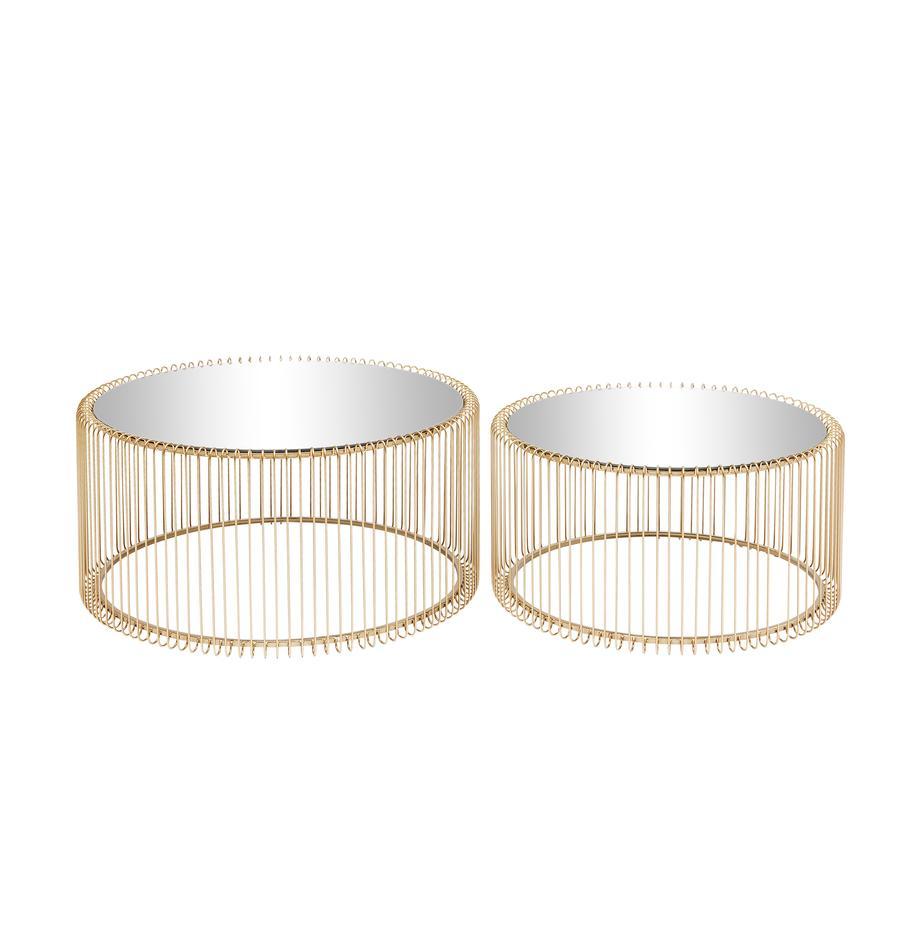 Metall-Couchtisch 2er-Set Wire mit Glasplatte, Gestell: Metall, pulverbeschichtet, Tischplatte: Sicherheitsglas, foliert, Gold, Sondergrößen