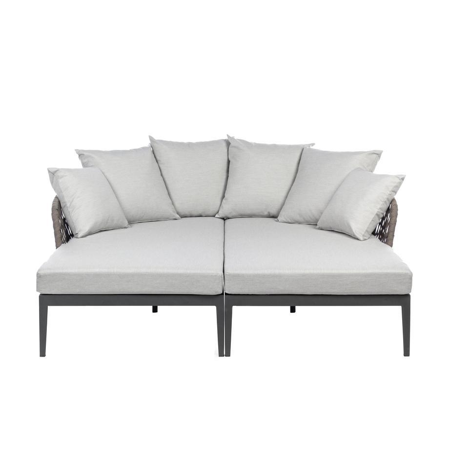 Garten-Daybed-Set Pelican, 2-tlg., Rahmen: Aluminium, pulverbeschich, Anthrazit, Grau, B 182 x T 179 cm