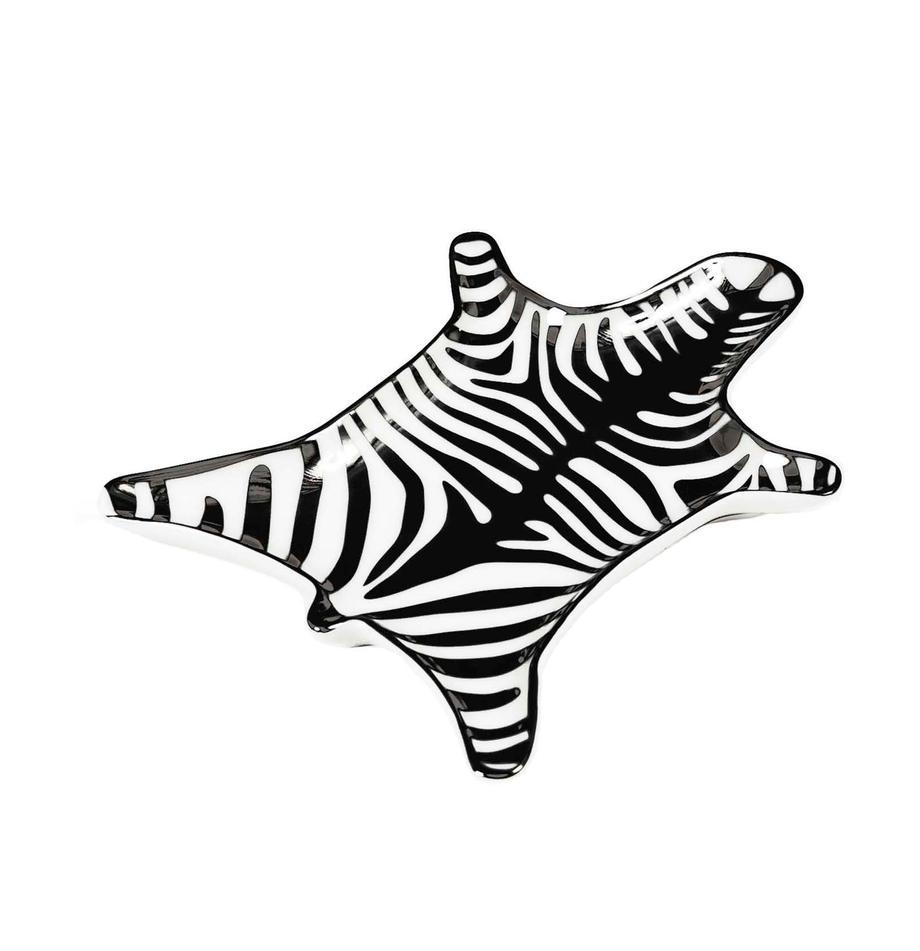 Bol decorativo Zebra, Porcelana, Negro, blanco, An 15 x F 11 cm
