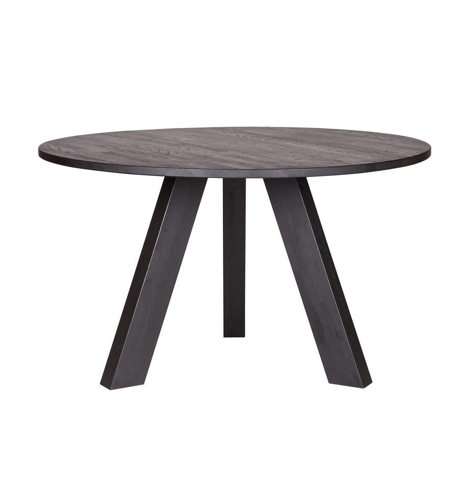 Okrągły stół do jadalni z litego drewna Rhonda, Drewno dębowe, Czarny, Ø 129 x W 75 cm