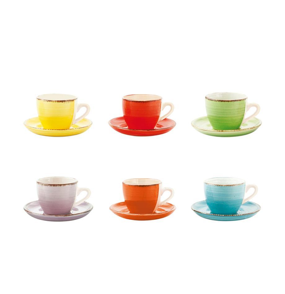 Espressokopjesset Baita, 12-delig, Keramiek, Geel, rood, lichtgroen, lila, oranje, lichtblauw, 90 ml