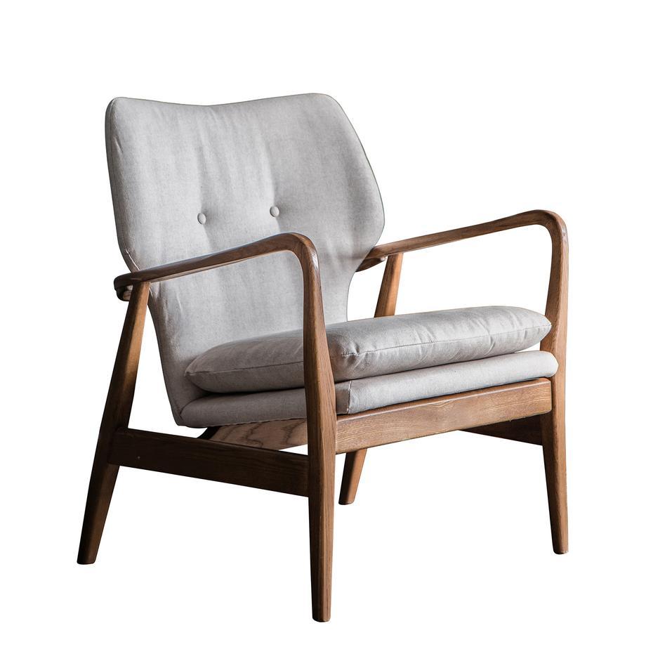 Loungefauteuil Jomlin van eikenhout, Bekleding: linnen, Frame: eikenhout, Lichtgrijs, 70 x 60 cm