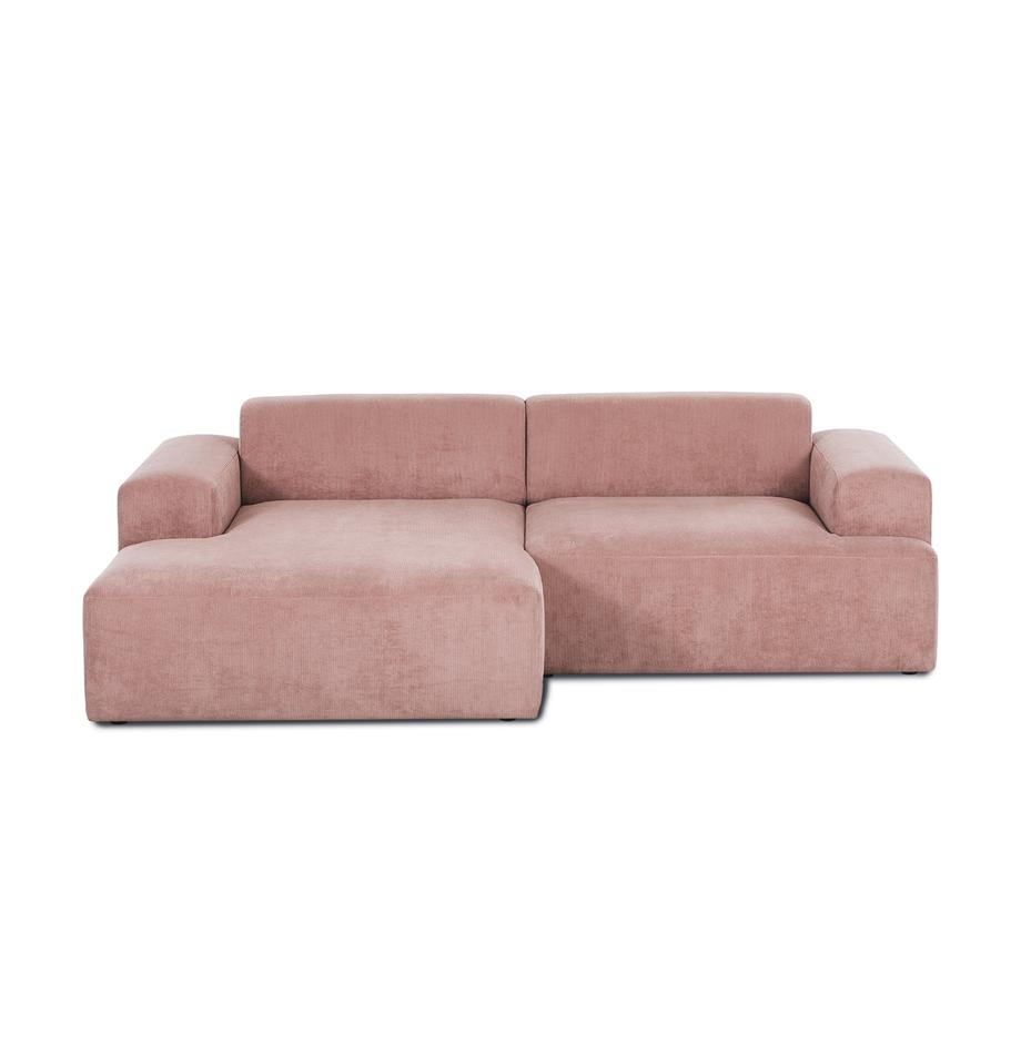 Cord-Ecksofa Melva (3-Sitzer) in Rosa, Bezug: Cord (92% Polyester, 8% P, Gestell: Massives Kiefernholz, Spa, Cord Rosa, B 240 x T 144 cm