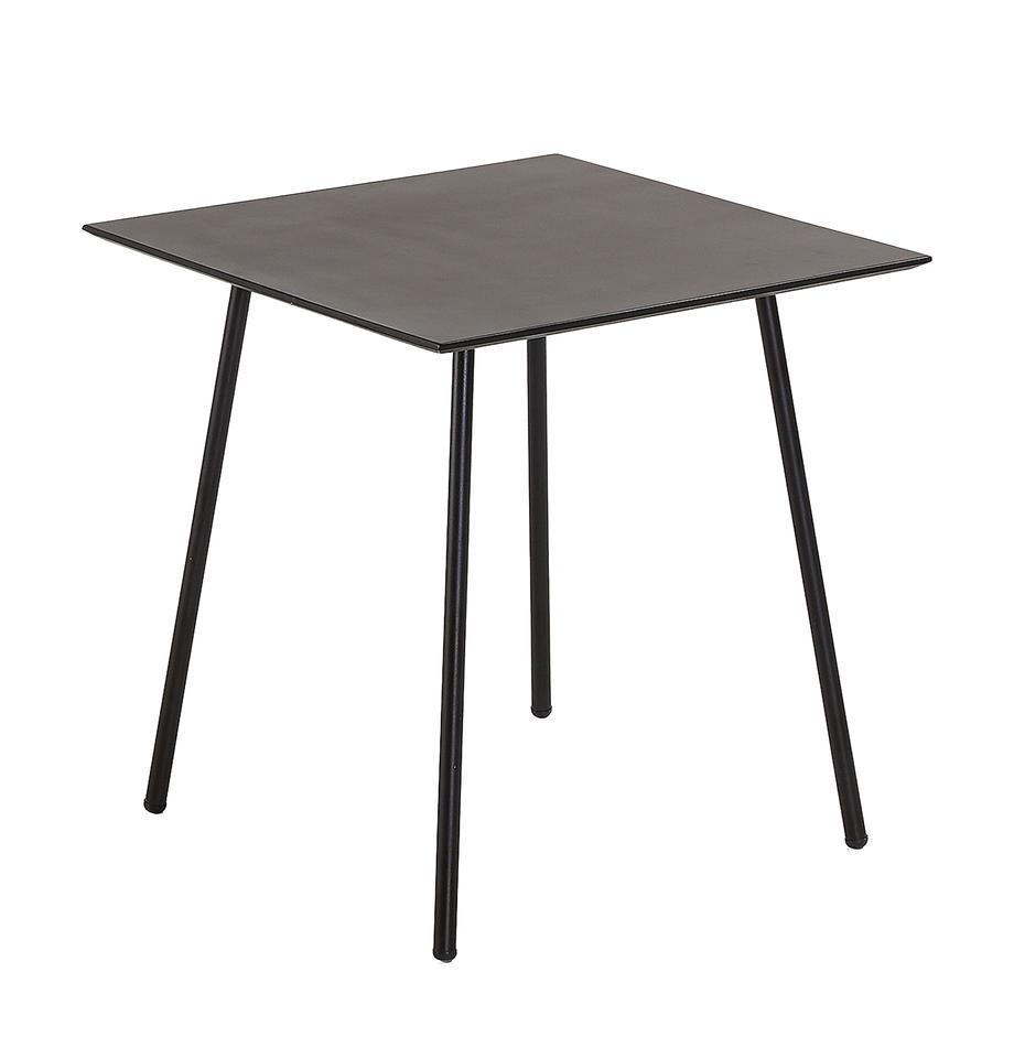 Mały stół do balkonowy z metalu Mathis, Blat: stal cynkowana i włókna c, Nogi: metal malowany proszkowo, Czarny, S 75 x W 75 cm