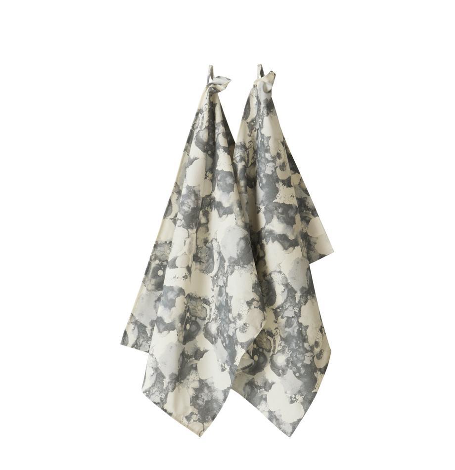 Geschirrtücher Baldwin aus nachhaltiger Baumwolle, 2 Stück, 100% Baumwolle, aus nachhaltigem Baumwollanbau, Creme, Grautöne, 50 x 70 cm