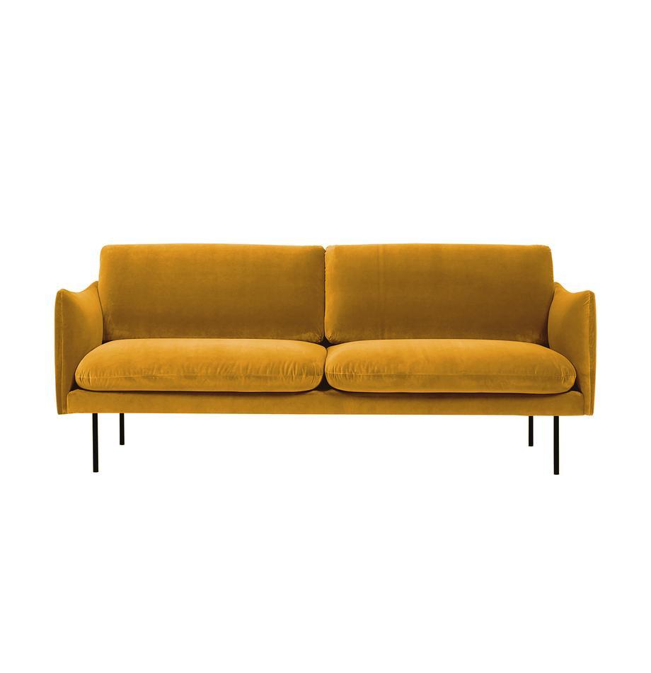 Sofá de terciopelo Moby (2plazas), Tapizado: terciopelo (tapizado de p, Estructura: madera de pino maciza, Patas: metal, Terciopelo mostaza, An 170 x F 95 cm