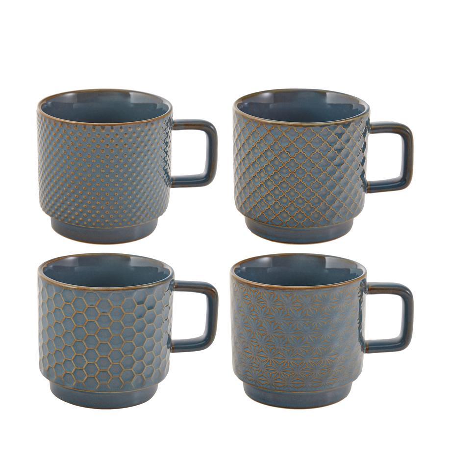 Gemusterte Tassen Lara, 4er-Set, Steingut, Blaugrau, Braun, Ø 8 x H 8 cm