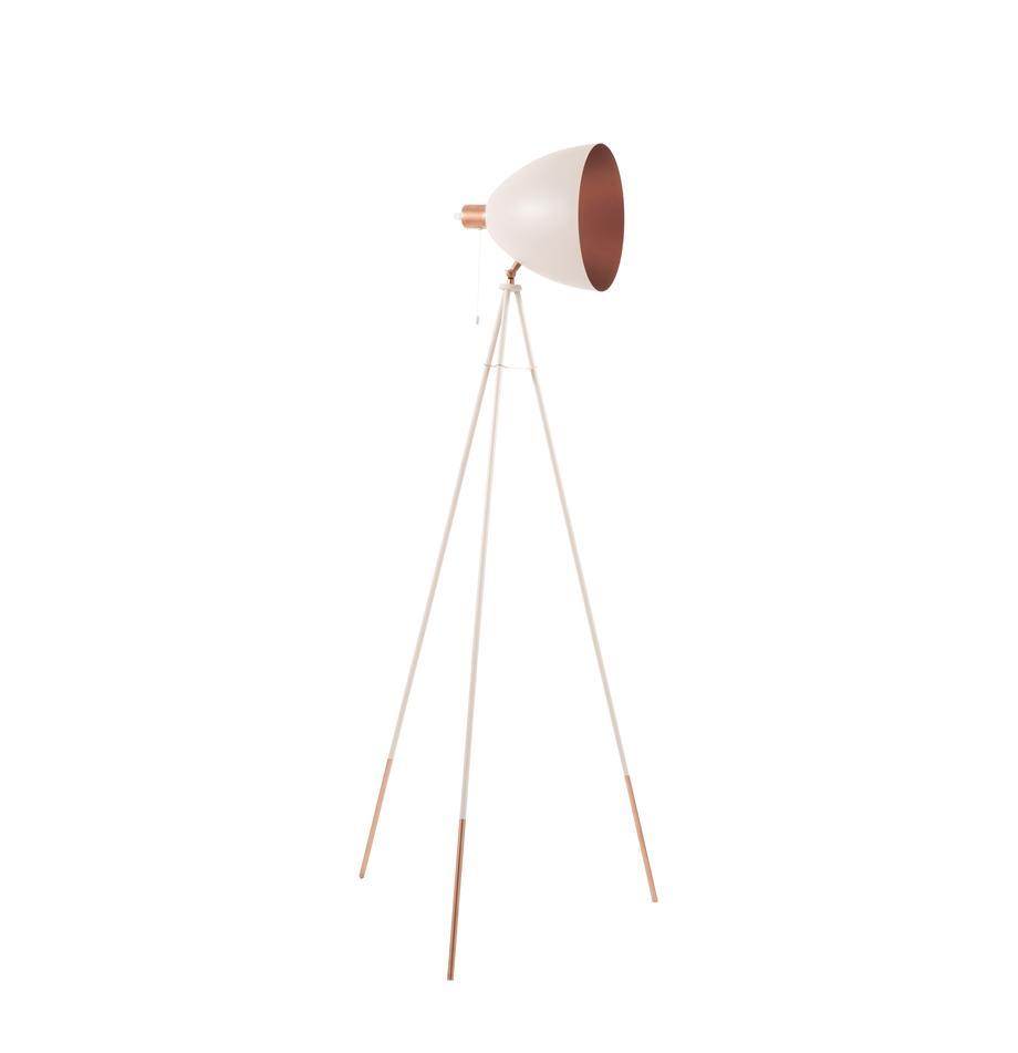 Driepoot leeslamp Chester met koperen decoratie, Lampenkap: gelakt staal, Lampvoet: gelakt staal, Roze, Ø 60 x H 150 cm
