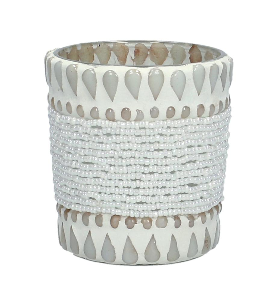 Portavelas Ive, Vidrio, con perlas y piedras pegadas, Beige, Ø 7 x Al 8 cm
