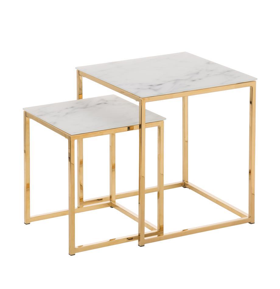 Beistelltische Aruba mit marmorierten Glasplatten, Tischplatte: Glas, Gestell: Metall, beschichtet, Tischplatte bedrucktes Glas:Matt Weiß, marmoriertGestell: Goldfarben, Sondergrößen