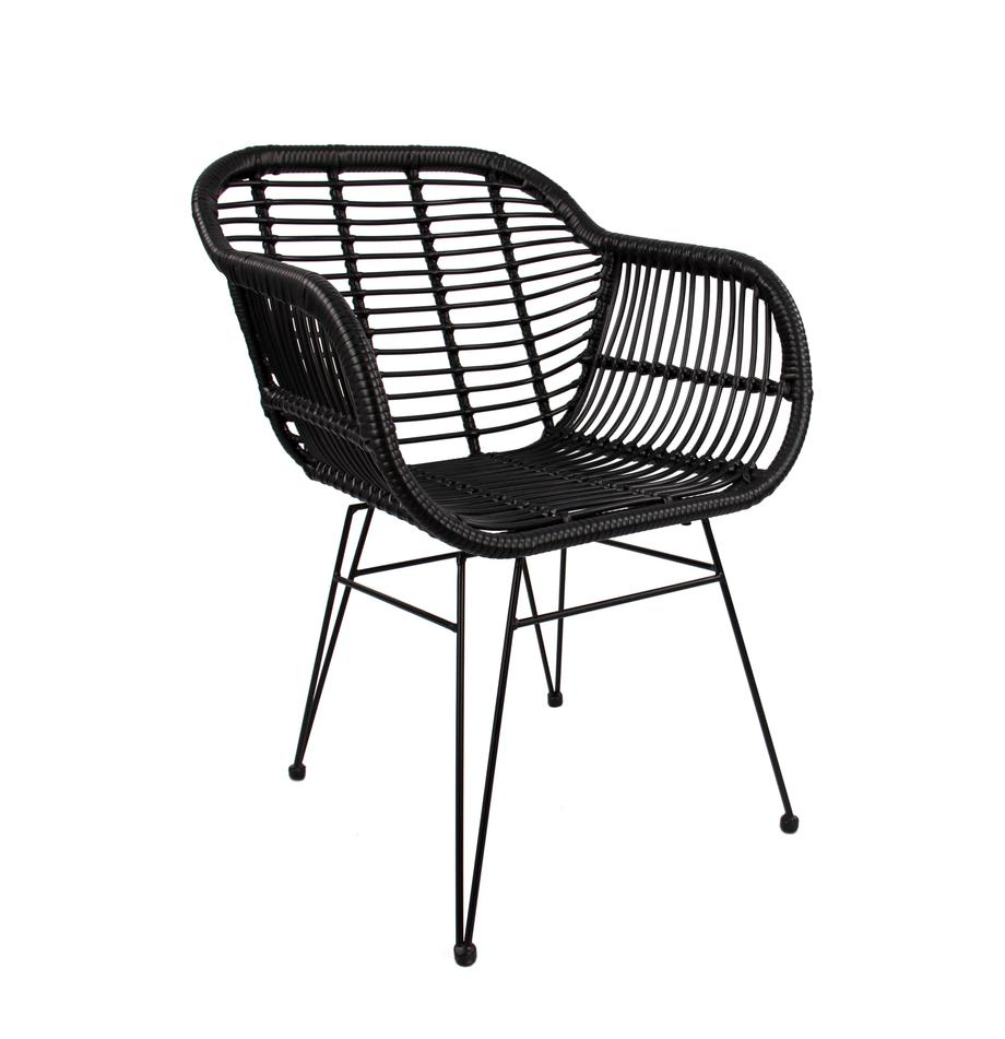 Krzesło z podłokietnikami z polirattanu Costa, 2 szt., Stelaż: metal malowany proszkowo, Czarny, nogi: czarny, S 59 x G 58 cm