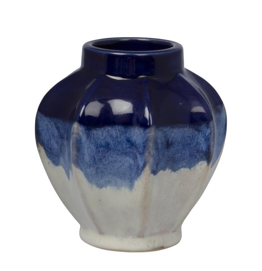 Deko-Vase Bora aus Steingut, Steingut, Blautöne, gebrochenes Weiss, Ø 11 x H 12 cm