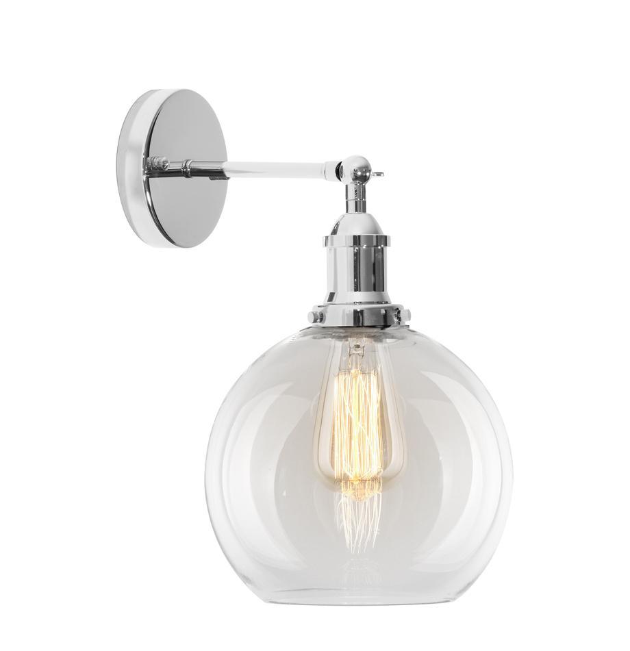 Große Wandleuchte New York Loft No.2, Lampenschirm: Glas, Gestell: Metall, verchromt, Chrom, Transparent, 20 x 35 cm