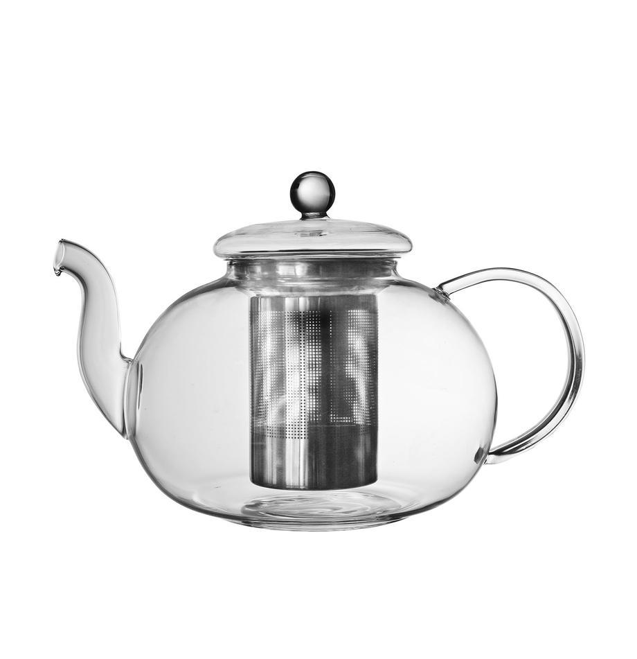 Tetera con infusor para té y tapa Argyle, 1,4L, Tetera: vidrio, Transparente, plateado, 1,4 L