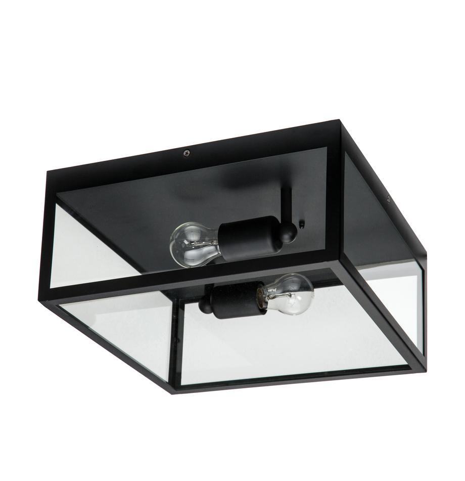 Plafón Aberdeen, estilo industrial, Acero pintado, vidrio, Negro, transparente, An 36 x Al 16 cm