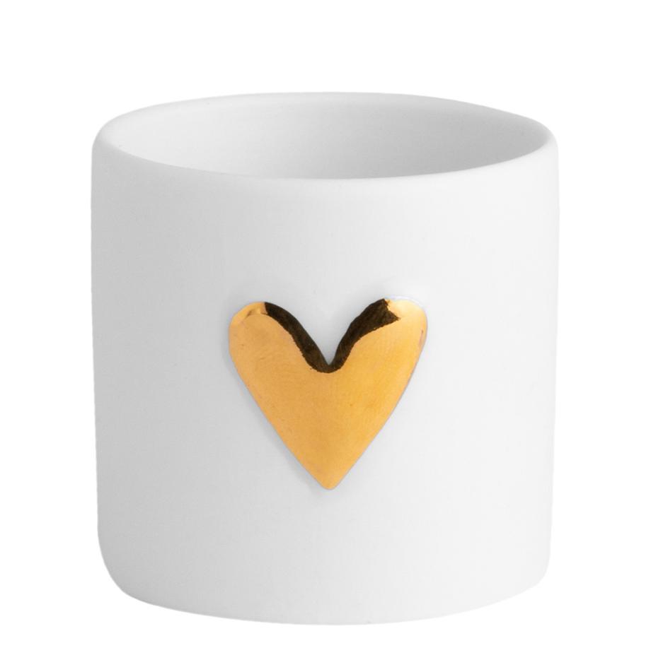 Teelichthalter Heart, Porzellan, 2 Stück, Porzellan, Weiss, Goldfarben, Ø 5 x H 5 cm